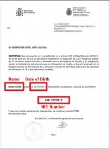 Spanish NIE Number certificate/card example
